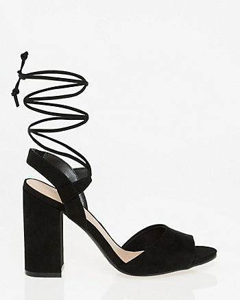 Suede-Like Lace-Up Sandal