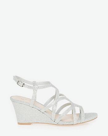 Glitter Mesh Open Toe Strappy Sandal