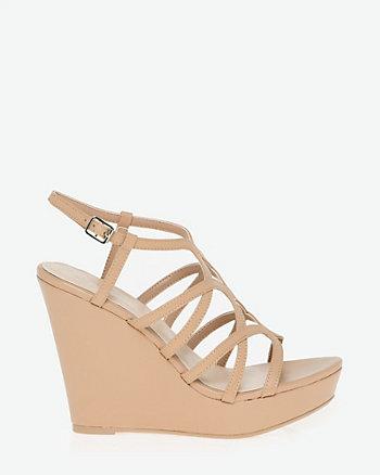 Leather-Like Open Toe Strappy Sandal