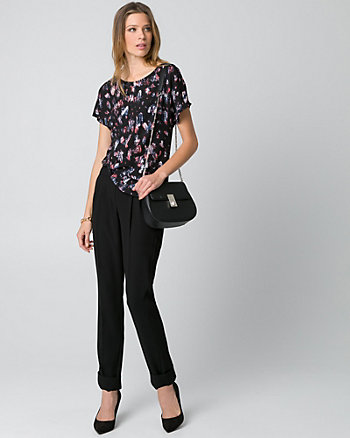 Printed Crêpe de Chine Boat Neck Top