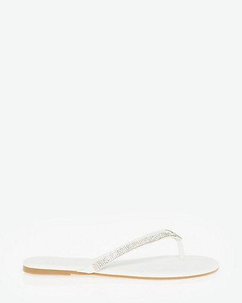 Embellished Leather-Like Thong Sandal
