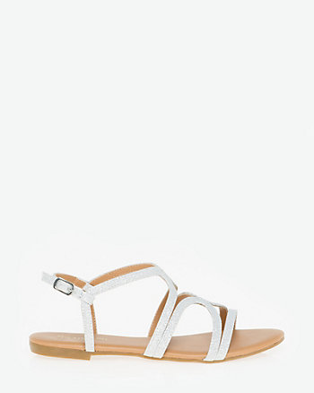 Glitter Leather-Like Strappy Sandal