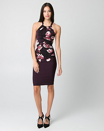 Floral Print Knit Halter Cocktail Dress