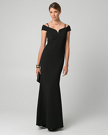 Crêpe-Like Knit Off-the-Shoulder Gown