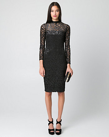 Burnout Velvet Mesh Cocktail Dress