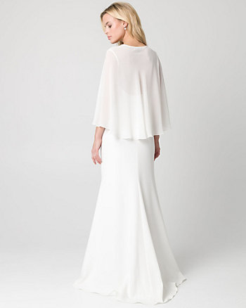 Triacetate V-Neck Cape Gown