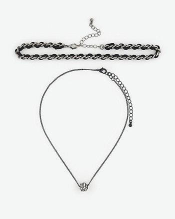 Fireball Gem & Lace Choker Necklace