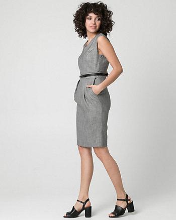 Crosshatch Viscose Blend Shift Dress