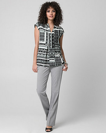Ornamental Print Woven Split V-Neck Blouse