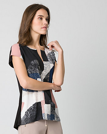 Abstract Print Crêpe de Chine Split Neck Top