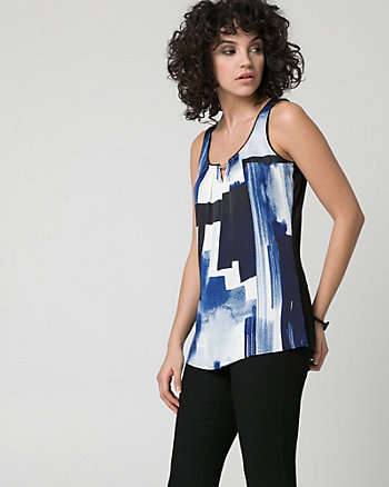 Abstract Print Satin & Knit Tank