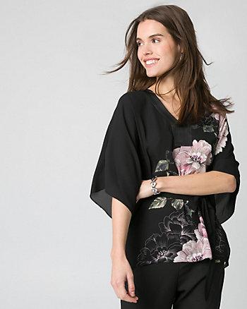 Floral Print Crêpe de Chine Poncho Blouse