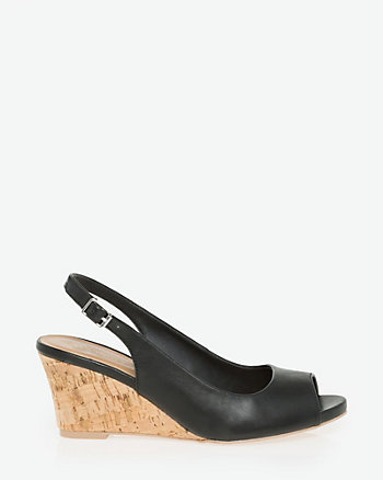 Leather-Like Peep Toe Slingback