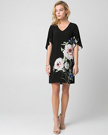 Floral Print Crêpe de Chine Tunic Dress