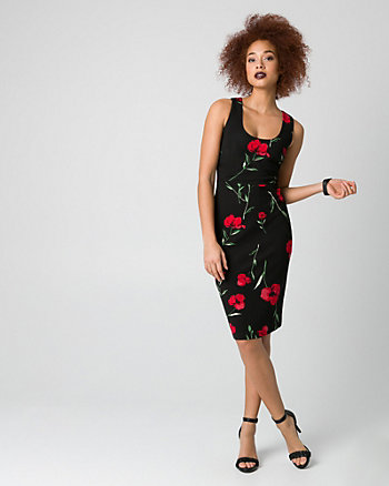 Floral Print Ponte Scoop Neck Shift Dress