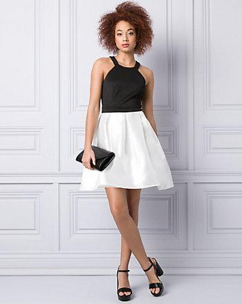 Satin & Knit Halter Party Dress