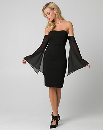 Chiffon & Knit Cocktail Dress