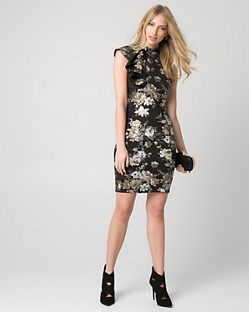 Floral Print Scuba Knit One Shoulder Dress