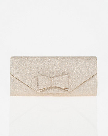 Glitter Bow Flapover Clutch