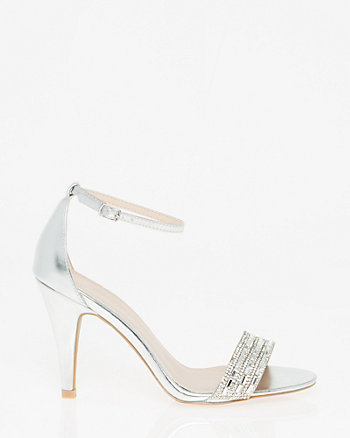 Embellished Leather-Like Ankle Strap Sandal