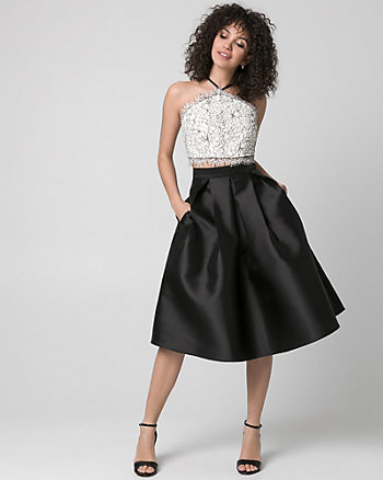 Lace & Taffeta Two-Piece Party Dress