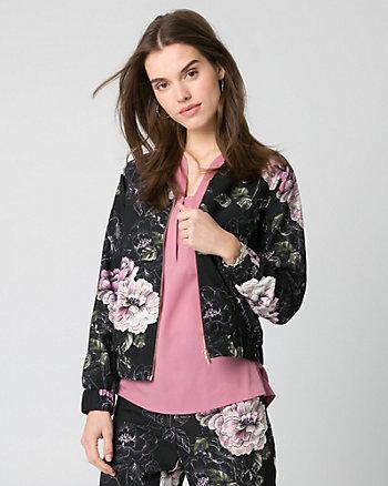 Floral Print Crêpe Bomber Jacket