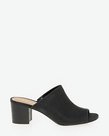 Leather-Like Peep Toe Mule