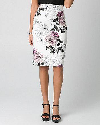 Floral Print Ponte Pencil Skirt