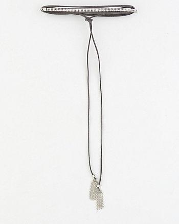 Gem & Suede-Like Choker Necklace