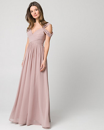 Chiffon Cold Shoulder Gown
