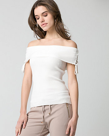 Rib Viscose Bend Foldover Neck Sweater