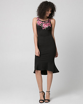 Embroidered Knit Crêpe Scoop Neck Dress