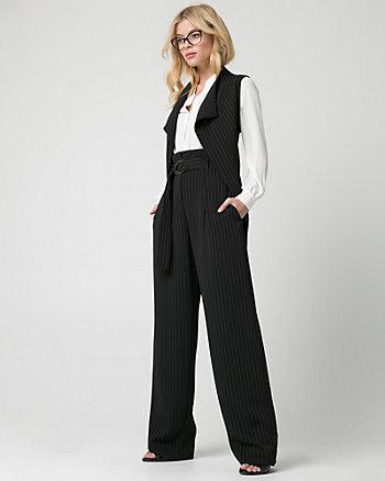 Stripe Woven Open-Front Vest