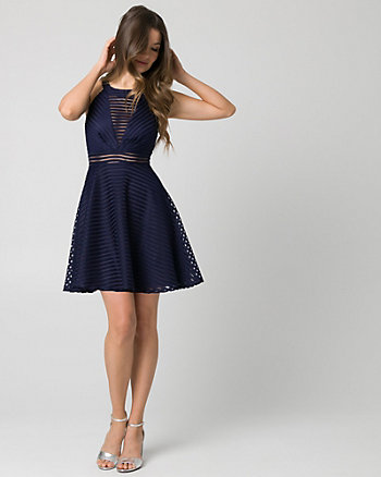 Ribbon Mesh Illusion Party Dress