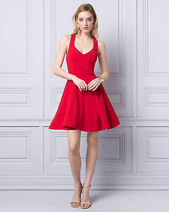 Scuba Knit V-Neck Party Dress