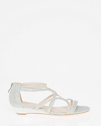 Glitter Mesh Strappy Wedge Sandal