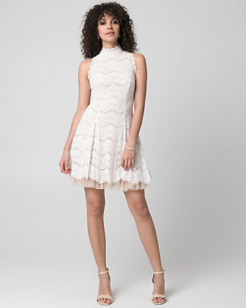Lace Mock Neck Skater Dress