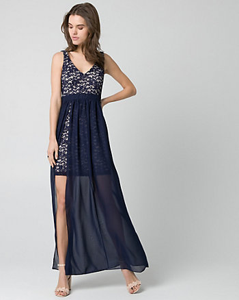 Lace & Chiffon V-Neck Gown