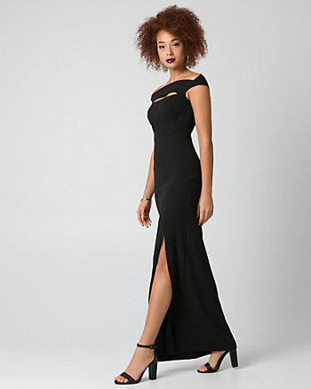 Knit Crêpe Off-the-Shoulder Gown