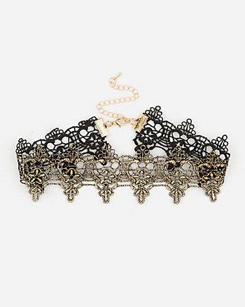Metallic Lace Choker Necklace