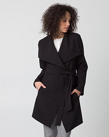 Double Weave Open Collar Wrap Coat