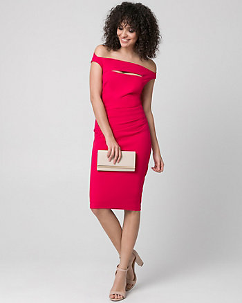 Knit Crêpe Off-the-Shoulder Shift Dress