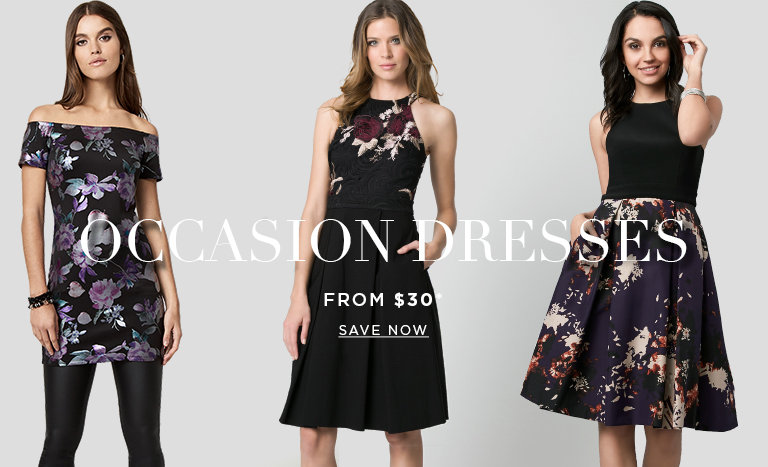 OCAASION DRESSES. Dresses from $30. SAVE NOW >