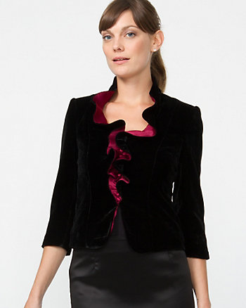 Colorblocked Velvet Ruffle Jacket