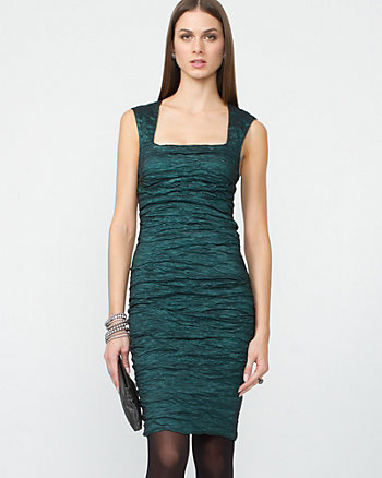 Metallic Stretch Taffeta Dress