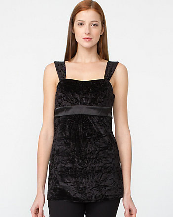 Flocked Stretch Velvet Babydoll Tank