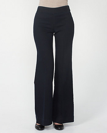 Stretch Denim Wide Leg Trousers