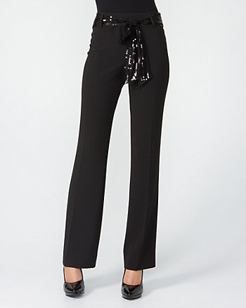 Wide Leg Pant with Sequin Sash