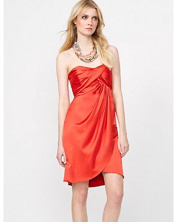 Satin Pleated Cocktail Dress