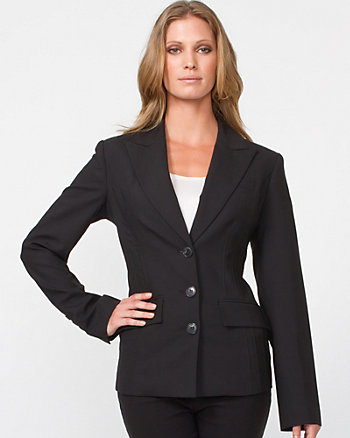Three-Button Blazer with Seaming Detail